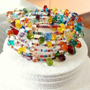 Jewelry - Seed bead and glass wire wrap bracelet